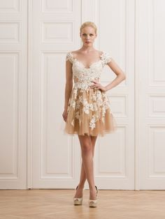 KNITTED LACE AND TULLE SHORT DRESS - Rhea Costa-Shop