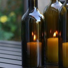 How to cut wine bottles to make unique candle holders! SOO cute!