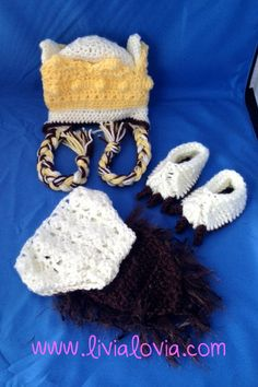 """Crochet Max """"Where The Wild Things Are"""" Hat, Booties, and Diaper Cover, Newborn Photo Outfit, Max Costume"""