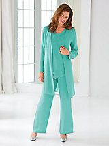 Duster Pants Set By Koret® - All eyes on you when you wear this lovely three-piece set. Jacket has leaf embroidery and beading. Shoulder pads, shaping seams and hook and eye Wedding Pants Outfit, Wedding Trouser Suits, Dressy Pant Suits, Wedding Pantsuit, Wedding Outfits, Mother Of The Bride Suits, Mother Of Bride Outfits, Conservative Outfits, Unique Clothes For Women