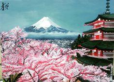Japan mount fuji painting Cute Japanese, Japanese Art, Cherry Blossom Painting, Snow Mountain, Mount Fuji, Mountain Paintings, Drawing Tutorials, Fantastic Beasts, Pencil Drawings