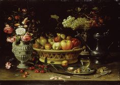 Clara Peeters - basket of fruit with a tazza holding grapes a bouquet  of flowers and a flagon WA1940.2.61.jpg - By Clara Peeters - http://www.ashmolean.org/, Public Domain, https://commons.wikimedia.org/w/index.php?curid=38468059