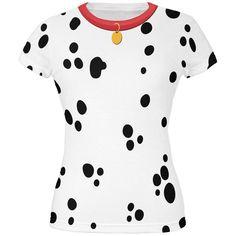Dog Dalmatian Costume Red Collar All Over Juniors T-Shirt | AnimalWorld.com