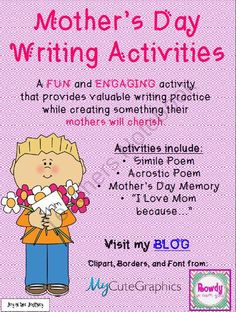 """Mothers Day Poetry Activities from Joy in the Journey on TeachersNotebook.com (5 pages)  - A FUN and ENGAGING activity that provides students with valuable writing practicewhile creating something their mothers will cherish.  This FREE seasonal packet includes: *Simile Poem *Acrostic Poem *Mother's Day Memory *""""I Love Mom because…"""""""