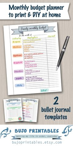 Budget planner printable template - digital PDF bujo bullet journal pages - monthly budget plan template budget planner printable Bullet Journal Inserts, Journal Template, Bullet Journal Ideas Pages, Monthly Budget Planner, Budget Binder, Printable Planner, Home Budget Template, Home Binder, Day Planners