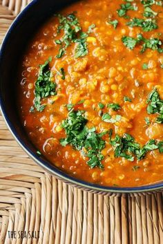 Moroccan Red Lentil Soup. High in protein and so flavorful with turmeric, cinnamon, and fresh ginger.