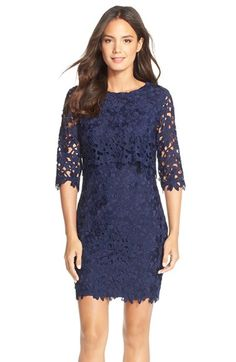 Cynthia Steffe'Audrey' Floral Lace Popover Dress available at #Nordstrom