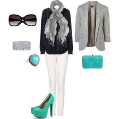 teal and grey...Love it a little color pop for a fall oufit