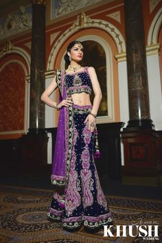 Purple & black Lengha by Impression by Farha T: +44(0)208 478 7717 W: impressionsonline.co.uk As seen in the Summer 2013 Issue of Khush Wedding Magazine