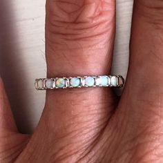 Sterling Silver White Lab Opal Eternity Band Ring