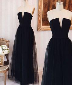 2017 New Arrival elegant simple tulle black long prom dress, black formal dress
