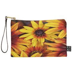 Shannon Clark Sunshine Petals Pouch | DENY Designs Home Accessories #office #dorm #school #floral #art #orange #yellow
