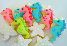 Seahorse and Starfish Mini Sugar Cookies 3 dozen by acookiejar, $29.95