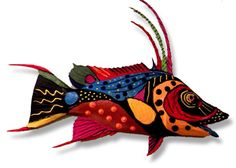 Each piece of fish art is made from fiberglass with the greatest of detail. Description from paintedfishart.com. I searched for this on bing.com/images
