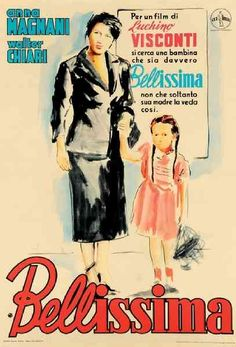 "MP758. ""Bellissima"" Italian Movie Poster by Ercole Brini (Luchino Visconti 1951) / #Movieposter"
