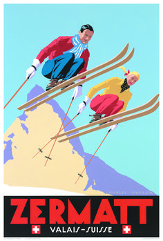 Retro posters capture halcyon days of Europe's best ski resorts 'Zermatt: Skiing Couple' – by Charles Avalon – Vintage travel posters – Winter Sports posters – Art Deco – Pullman Editions Ski Vintage, Vintage Ski Posters, Retro Posters, Vintage Winter, Old Posters, Art Deco Posters, Sports Posters, Zermatt, Travel Ads