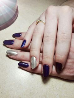#nails #navy #blue #silver     #mywork