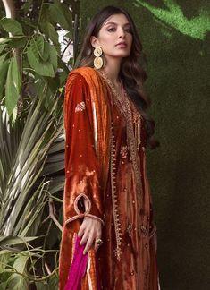 Velvet Pakistani Dress, Pakistani Dresses, Designer Wear, Designer Dresses, Silk Dupatta, Silk Organza, Traditional Looks, Orange Dress, Looking Gorgeous