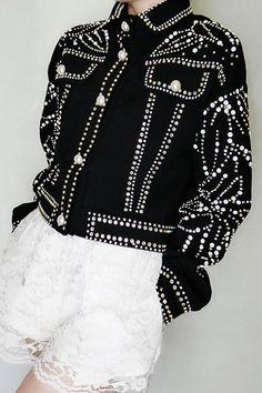 Treat Yourself Pearl Jacket – UnikWe Boutique Denim Fashion, Fashion Art, Fashion Outfits, Womens Fashion, Fashion Design, Fashion Brands, Embellished Jeans, Embellished Jackets, Studded Jacket