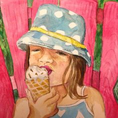 "Vlatimerstudio on Instagram: ""Beach day and ice cream @downrivah pretty fantastic! #illustration #artwork #summerofpainting #toddlers #painting #paintingaday #instaart #instaartist #icecream #summer #polkadots #igersboston"""