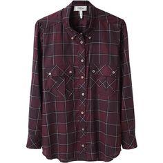 Étoile Isabel Marant Vanda Shirt (940 BRL) ❤ liked on Polyvore featuring tops, blouses, shirts, checkered shirt, cotton button down shirts, purple shirt, long sleeve cotton shirt and button down shirt