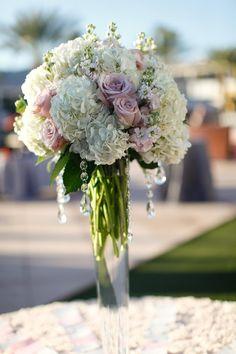 tall hydrangea centerpieces for weddings | Tall-White-Hydrangea-Pink-Rose-Centerpiece - Elizabeth Anne Designs ...