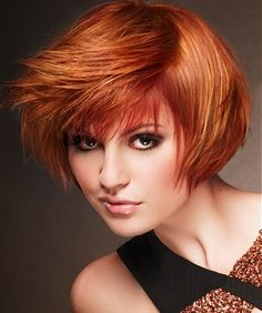 A medium red straight coloured hairstyle by Anne Veck Hair