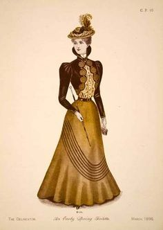 1898 Print Victorian Woman Spring Toilette Fashion Clothing Costume Dress Hat | eBay $76.95