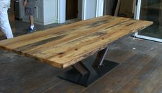 Live edge, 8ft spalted maple dining table, railroad track steel base. Private collection, Muskokas - CWS0026