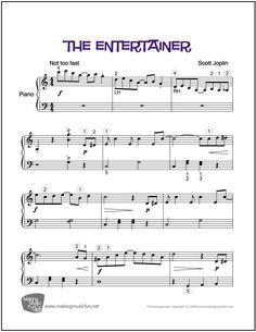 The Entertainer (Joplin) | Sheet Music for Easy Piano (Digital Print) - http://makingmusicfun.net/htm/f_printit_free_printable_sheet_music/the-entertainer.htm
