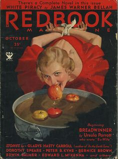 Gorgeously illustrated cover of the October 1933 cover of Redbook magazine featuring a young woman bobbing for apples.