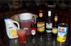 •16 ounces of Dark Rum   •8 ounces of Light Rum   •8 ounces of Triple Sec   •32 ounces of Orange Juice (low to no pulp)   •32 ounces of Pineapple Juice   •24 ounces of Sweet 'n Sour mix   •8 ounces of Grenadine  Mix well, and serve! Great with lots of chopped ice, and a fruit wedge on the glass rim (oranges and limes seem to do the trick).. Party on....