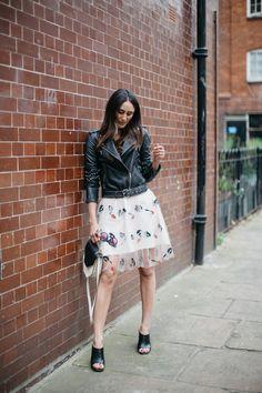 skirt + leather jacket