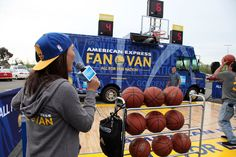 American Express Dub Nation to the IMAX: The official card of the Golden State Warriors, American Express hosted a live stream of the April 7 Warriors and San Antonio Spurs game in an Imax theatre in Newark, California. In partnership with Bay Area food truck market Off the Grid, the American Express Fan Van—which will be at Off the Grid locations and the Oracle Arena at home games—served as a miniature basketball court for fans, and also offered merchandise and giveaways.