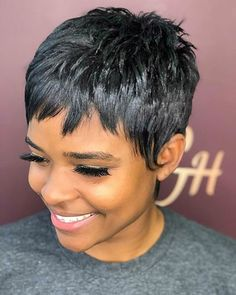 Today we have the most stylish 86 Cute Short Pixie Haircuts. We claim that you have never seen such elegant and eye-catching short hairstyles before. Pixie haircut, of course, offers a lot of options for the hair of the ladies'… Continue Reading → Curly Pixie Haircuts, Pixie Hairstyles, Short Hairstyles For Women, Black Hairstyles, Black Pixie Haircut, Teenage Hairstyles, Hairstyles Pictures, American Hairstyles, Elegant Hairstyles