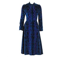 Preowned 1970's Thea Porter Couture Embroidered Print Blue Velvet... ($2,200) ❤ liked on Polyvore featuring outerwear, coats, velvet, blue, dresses, vintage, blue velvet coat, velvet coat, fitted coat and vintage coat