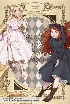 Like oh my gosh, this is how I imagine them. Dimple and Valli, only.Valli's dress looks more like something Rosa would wear. / Rapunzel and Merida / I like her drawings! / the big four Disney Dream, Disney Love, Disney Magic, Rapunzel, Disney Princess Art, Disney Fan Art, Tangled Princess, Princess Merida, Disney And Dreamworks