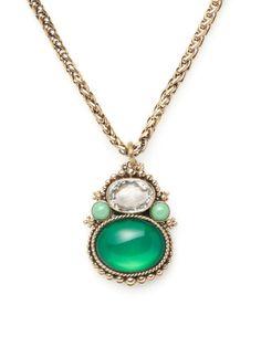 Green Quartz & Crystal Pendant Necklace by Stephen Dweck on Gilt.com