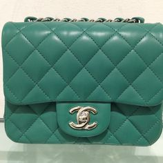 Chanel Green Lambskin Classic Square Mini from Spring 2016 Collection