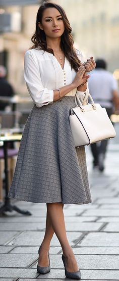 Embossed Gingham A-line Midi Skirt In Grey Fall Street Style. Inspo by Hapa Time.