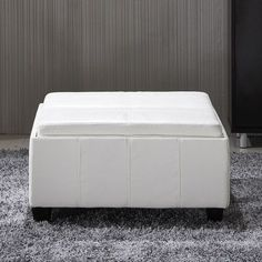 Wade Logan Cline Leather Storage Ottoman Upholstery: Creamy White