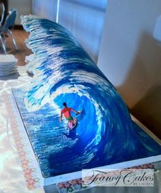Big Wave cake tutorial Phillips-Barton Phillips-Barton Davies-Briggs totally want to make this cake for Kurtis. Crazy Cakes, Fancy Cakes, Unique Cakes, Creative Cakes, Pretty Cakes, Cute Cakes, Fondant Cakes, Cupcake Cakes, 3d Cakes