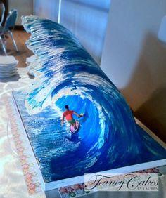 Big Wave cake tutorial Phillips-Barton Phillips-Barton Davies-Briggs totally want to make this cake for Kurtis. Cake Decorating Techniques, Cake Decorating Tutorials, Crazy Cakes, Fancy Cakes, Unique Cakes, Creative Cakes, Pretty Cakes, Cute Cakes, Fondant Cakes