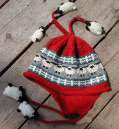 Adult Red Sheep Flaphat by woodsmokewoolworks on Etsy, $42.00