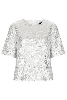 **Metallic Foil Tee #top #tee #silver #fashion #moda