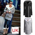New Women's Long Zip  Tops Hoodie Coat Jacket Outerwear Sweatshirt UK Size 8-22