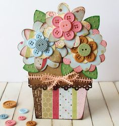 Button Flower Pot Card made with Cricut and buttons. Pretty pull out flower pot card embellished with paper flowers with button centers. Button Flowers, Paper Flowers, Button Cards, Shaped Cards, Cricut Cards, Mothers Day Crafts, Creative Cards, Flower Cards, Diy Cards
