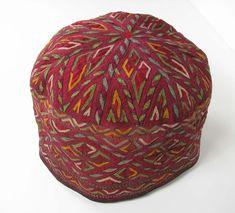 Turkoman Girl's Hat, Silk on cotton, 4.75in Tall x 6in Diameter,