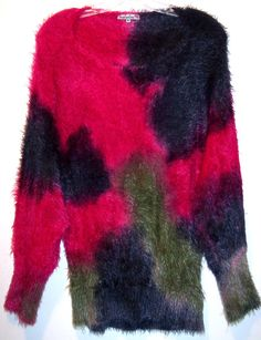 RETRO Shaggy Eyelash Knit Sweater XL Bodycon Furry Soft Dolman Sleeve Jumper Top #HuggingKisses #Tunic