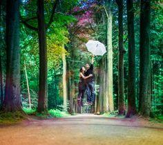 by Letizia Camboni http://www.letiziacamboni.com tags : amoureux, couple, deux, parapluie, forêt, envolent, lévitation, bois lovers, two, together, umbrella, forest, wood, levitation, fly